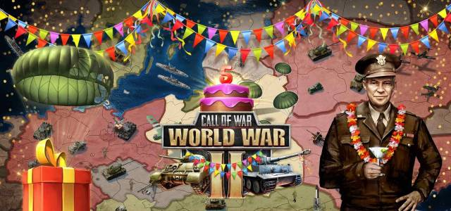Call oe War World War II 5 Anniversary on F2P.com with a FREE Starter Pack Giveaway and 5th Anniversary Event for Call of War